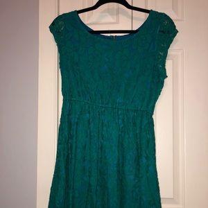 Xhiliration Green & Blue Lace Mini Dress
